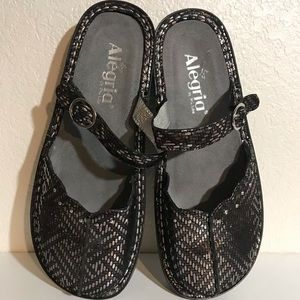 Algeria black and silver Mary Jane mules size 37